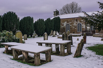 Pilling Old Church in Snow 